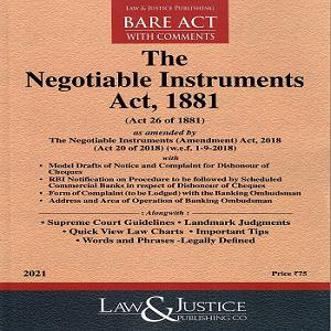 The Negotiable Instruments Act 1881[Bare Act 2021]-L&JP